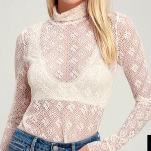 Free People Long sleeve lace turtleneck
